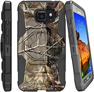 MINITURTLE Compatible with Samsung Galaxy S7 Active Case, S7 Active Heavy Duty Case, G891A [Armor Reloaded] Dual Layer Shell Case + Clip and Stand Design Case Fallen Leaves Camo