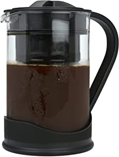 COLD BREW COFFEE MAKER By Spigo 1 Liter (4-Cups) Capacity, Great For Flavorful Iced Coffee That Stays Fresh Longer, Borosilicate Glass, Easy Cleaning, Fun Ideas and Recipe Booklet, 8x5 Inches, Black