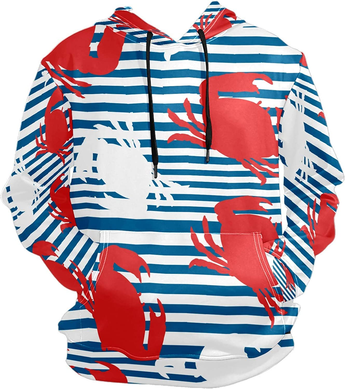 Men's Sport Hoodie Nautical Crab Silhouette Navy Blue Big and Tall Hoodies for Men Women Oversized Hooded Sweatshirt Hip Hop Pullover Hoodie Midweight Hood for Boys Girls