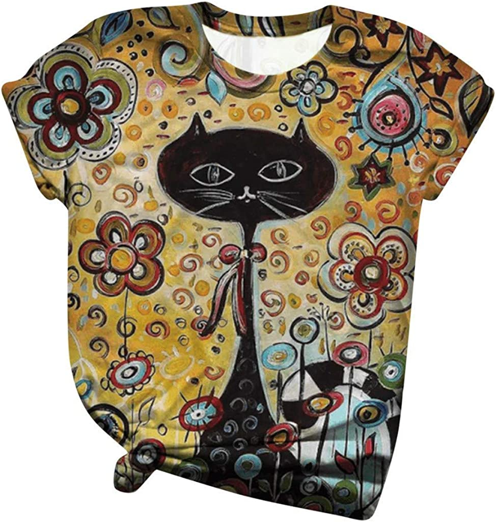 Women's Short Sleeve T-Shirt Casual Cute Animal Flowers Printed Round Neck Fashion Basic Tops Tee T-Shirt Blouse