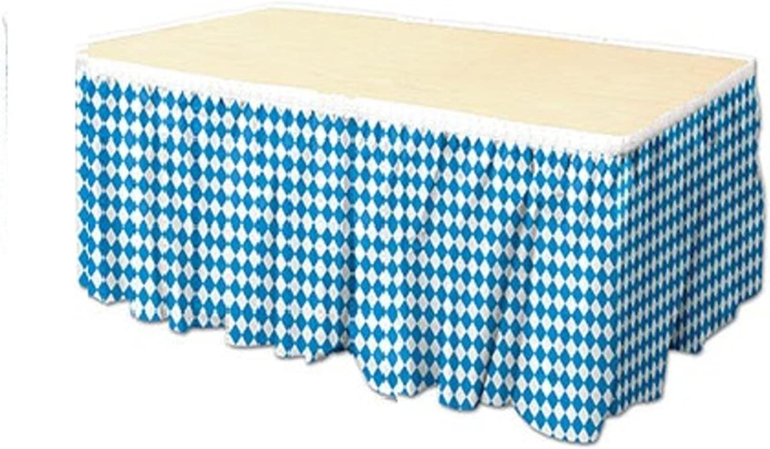 Pack of 6 bluee and White Oktoberfest Table Skirt Party Decorations 14'