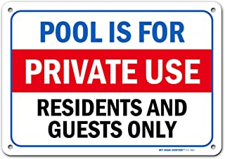 Pool Rules Sign for Residents and Guests Only, Made Out of .040 Rust-Free Aluminum, Indoor/Outdoor Use, UV Protected and F...