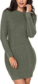 Dokotoo Womens Winter Cozy Casual Cable Knit Slim Sweater Jumper Dress