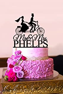 Bicycle Cake Topper Wedding Cake Topper Mr and Mrs Cake Topper with Last Name Cake Topper for Wedding Personalized Last Name Topper