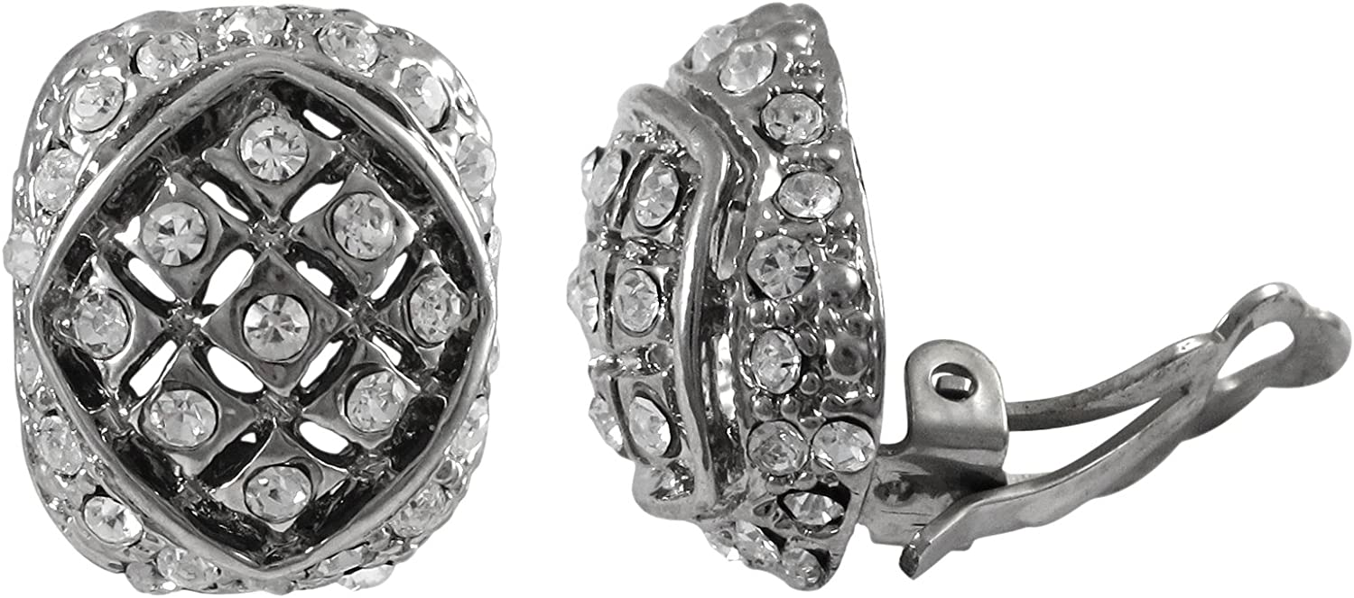 Isaac Kieran Rhodium Finish Pave Crystals Oval Clip-on Earrings