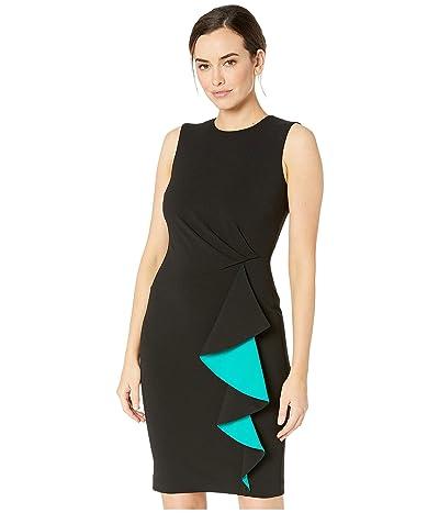 Calvin Klein Ruched Sheath Dress w/ Ruffle Contrast Lining (Black/Jungle) Women