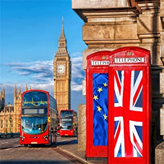 OFILA London Backdrop 5x5ft Big Ben Photography Background Westminster Palace London Street Red Bus British Union Flags On Phone Booths Historical Building Travel Photo Interior Decoration Studio Prop