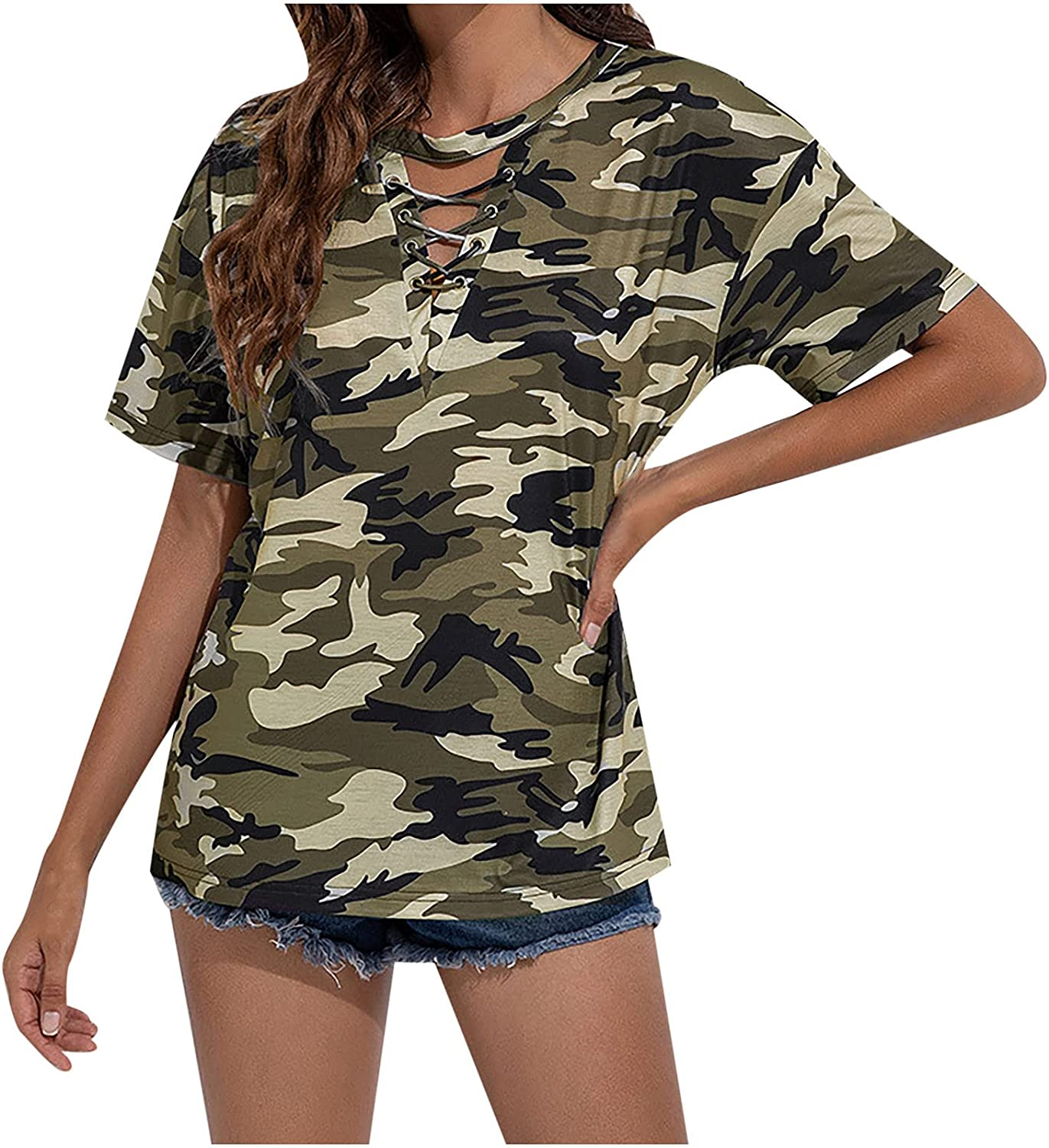 TARIENDY Camouflage Tie Dye Shirt for Women Bandage V Neck Tops Summer Short Sleeve Blouse Loose Comfy Tees
