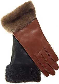 Fratelli Orsini Women's Italian Cashmere Lined Leather Gloves with Mink Cuff