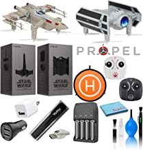 Propel Star Wars T-65 X-Wing Star Fighter and TIE Advanced X1 Quadcopter Two Drone Best Value Bundle with 4-AA Rechargeable Batteries, 50cm Drone Landing Pad, USB Power Bank, and More