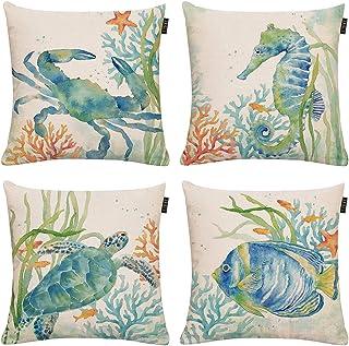 GTEXT Set of 4 Ocean Beach Outdoor Throw Pillow Covers Turtle Crab Seahorse Fish Decorative Sea Coastal Theme Decor Cushion Square Pillowcase 18x18 Beach Pillows for Patio Couch Sofa,Marine Animals