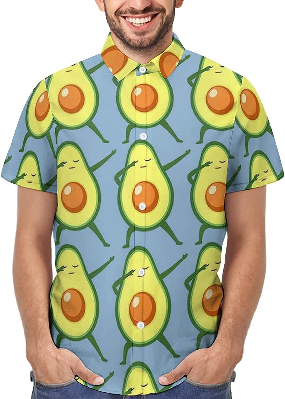 Men's Regular-Fit Short-Sleeve Printed Party Holiday Shirt Avocados Dancing