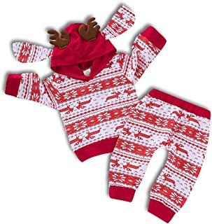 Baby Girls Boys Outfit Hooded Pocket Tops + Plaid Pants Clothes Set