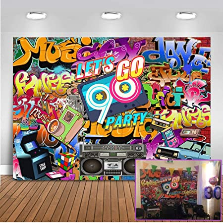 Mehofoto 90er Jahre Thema Party Kulisse 7x5ft Hip Hop Kamera