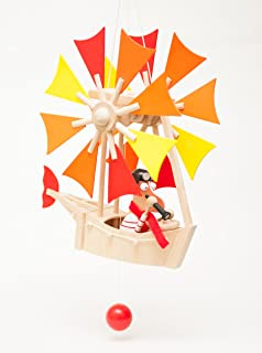 Wupper Airlines Wooden Hanging Mobile (Windwheel, yellow, orange, red)