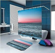 AMDXD Bathroom Set Curtain Mats Accessories Wave Blue Shower Curtain Polyester Waterproof Bath Mats Non Slip 150x180CM