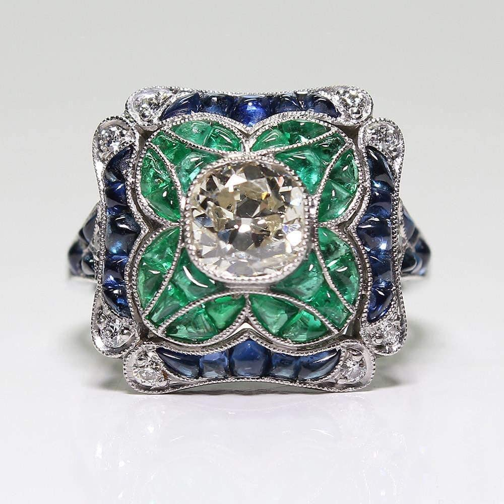 Size 6 Vintage 14K White Gold and White Topaz Ring