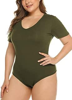 IN'VOLAND Women's Bodysuit Plus Size Short Sleeve/Sleeveless Bodysuits Scoop/V Neck Leotards Basic Top T Shirt