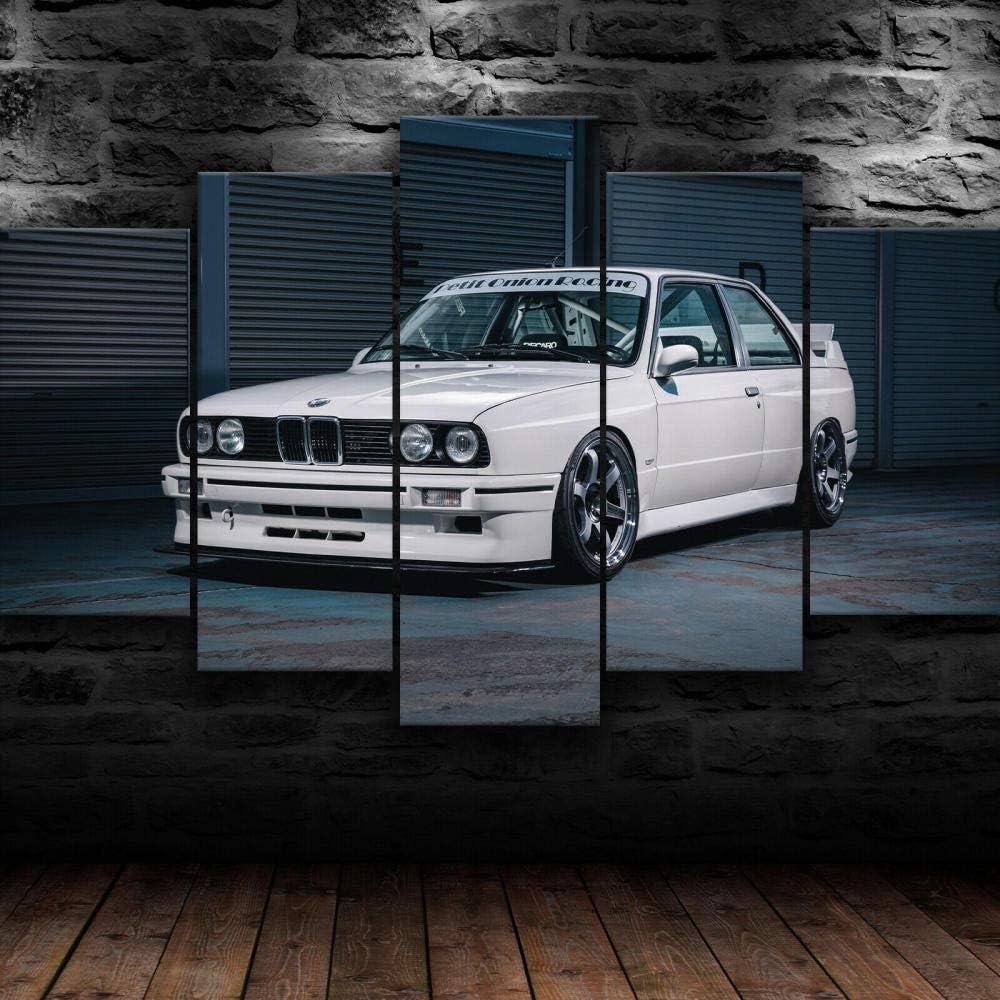 GMSM Home Decoration Poster Wohnzimmer 5 Panel BMW E30 3-Serie Oldtimer Modulares Bild Wandkunst HD Gedruckte Moderne Malerei auf Leinwand 150x80cm…