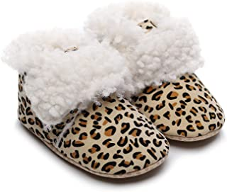 Bebila Winter Baby Cashmere Buckles Snow Boots Warm Boys Girls Ankle Booties Soft Sole Anti-Slip Suede Fleece Leopard Infant Shoes Newborn Crib Slippers