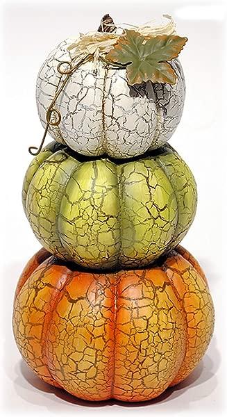 Special T Crackled Harvest Stacked Pumpkin Figure Autumn Decor