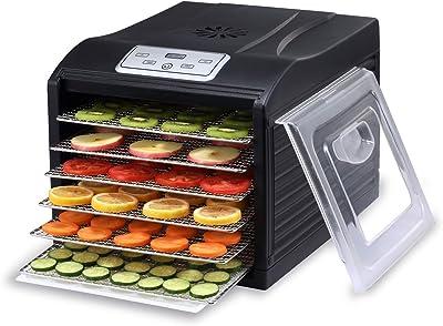 BioChef Arizona 6Bandeja Bandejas para deshidratador de alimentos con acero inoxidable alimentos, 1x antiadherente Bandeja y malla Hoja, Negro, 1