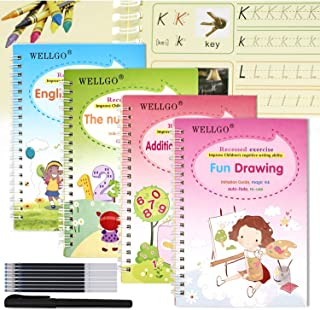 UniShop 4 Pack English Magic Practice Copybook for Kids,Magic Calligraphy with Alphabet,Addition &Subtraction,Numbers,Draw...