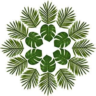 FEPITO 40 PCS Artificial Tropical Leaves Green Palm Monstera Leaves for Luau Hawaiian Party Decorations, Artificial Faux C...