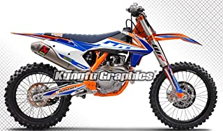 Kungfu Graphics Custom Decal Kit for 125 150 250 350 450 SX SXF SX-F XC XCF XC-F 2016 2017 2018 (2016 250sx 250xc 300xc is NOT included), White Blue Stripes