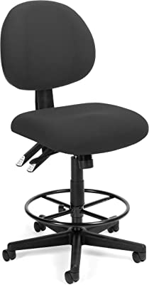 OFM Core Collection 24-Hour Ergonomic Multi-Adjustable Upholstered Task Chair with Drafting Kit, in Charcoal