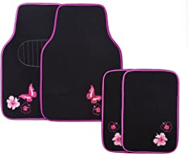 CAR PASS-Universal Fit Embroidery Butterfly and Flower Car Floor Mats,Universal fit for SUV,Trucks,sedans,Vans,Set of 4(Black with Pink)