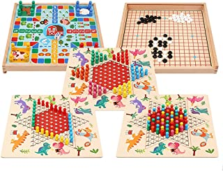 Wooden Chinese Checkers and Gobang (Five in a Row) 5 in 1 Board Game Ludo Flying Chess Family Game for Adults and Kids