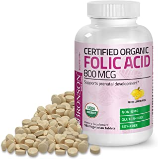 Bronson Organic Folic Acid (Vitamin B9 Folate) 800 mcg Natural Folate from Lemon Peel, 180 Tablets