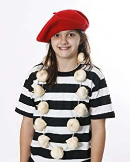 RED Beret + Garlic/Onions Garland Set Necklace French OR Vampire Slayer Fancy Dress Bastille Day