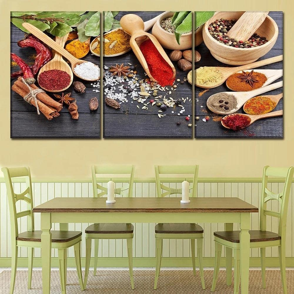 3 Piece Canvas Poster Sales for sale Max 82% OFF Food P Spices Artwork Spoon Grains