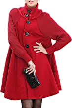 Sexyshine Women's Mid Long Length Single Breasted Cowl High Neck Loose Button Down Woolen Cloak Coat Jacket