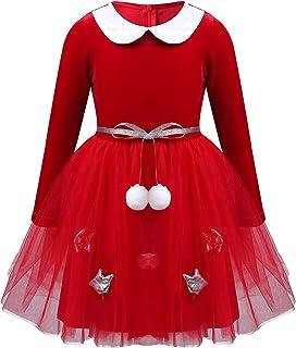 TTAO Baby Girls Christmas Mesh Tutu Dress Xmas Party Santa Claus Cosplay Costume Birthday Party Dance Princess Dresses