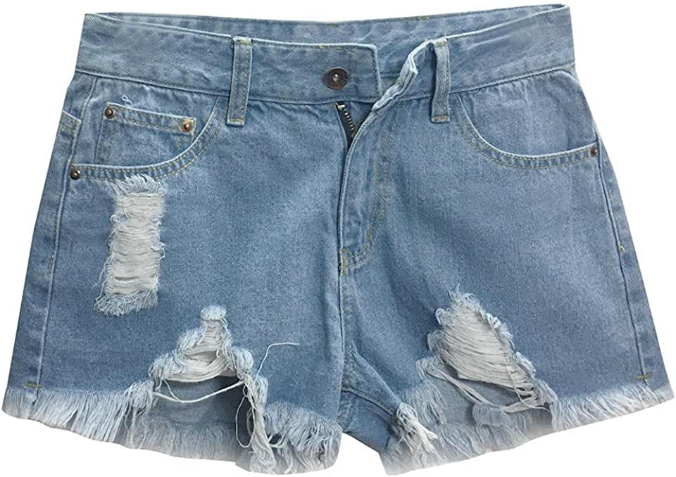 Women Blue Denim Jeans Solid Casual Hole Summer Button Mini Hot Shorts