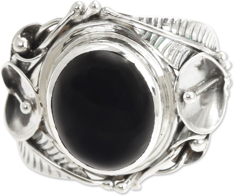 NOVICA Popular standard Onyx .925 Sterling Silver Floral 'Nest Cocktail of Ring L Lowest price challenge