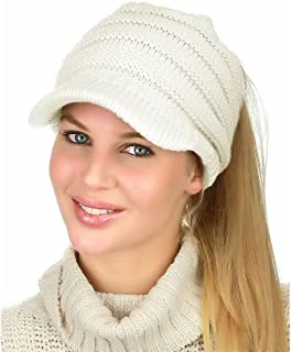 BUYITNOW Women's Beanie Tail Cable Knit Visor Ponytail Beanie Hat with Knitted Touch Screen Gloves