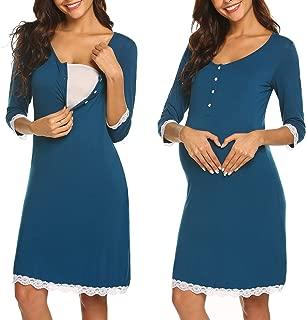 Ekouaer Women Delivery/Labor/Maternity/Nursing Nightgown Long/Short Sleeve Pleated Breastfeeding Sleep Dress(S-XXL)