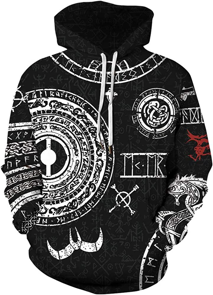 Viking Hoodie Special price 3D Digital Printing Loose Couples Casual Pullover Outlet sale feature