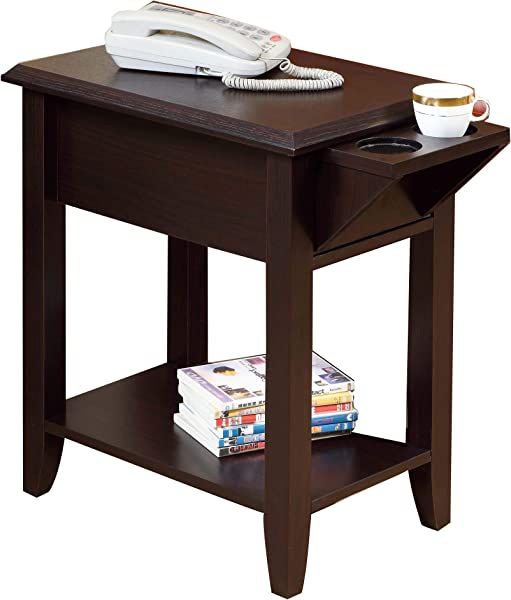 Benzara BM179686 Wooden Chairside Table With Cup Holders Brown