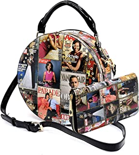 Glossy magazine cover collage crossbody bag purses Michelle Obama round crossbody and wallet 2pcs set