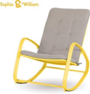 Sophia and William Outdoor Patio Rocking Chair Padded Steel Rocker Chair Support 300lbs, Yellow