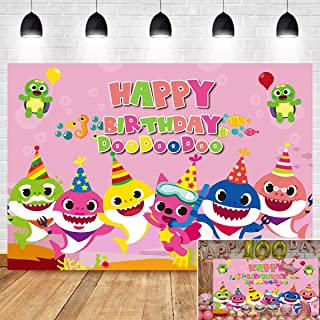 Cartoon Cute Baby Shark Family Photo Background Children Happy Birthday Supplies Pink Ocean Photography Backdrop Baby Shower Party Banner Vinyl 5x3ft Photo Booth Studio Props Candy Table Decoration