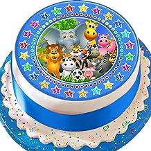 Cannellio Cakes Jungle Animals Blue Star Border 7.5 Inch Precut Edible Icing Cake Topper Decoration