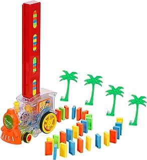 Hometool Domino Train,Train Toy Train Blocks Set Train Model with Lights Sounds Stacking Toys Set Boys Girls Creative Gift...