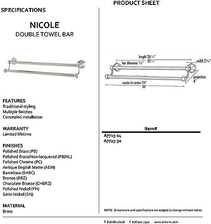 Alno A7725 24 Barc Nicole Double Traditional Towel Bars Barcelona