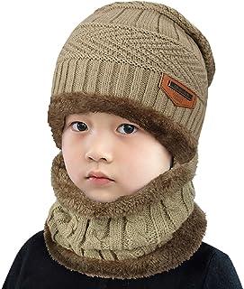 UMIPUBO Sciarpa e Beanie Bambini Unisex in Maglia Beanie Inverno Caldo Fodera Cappellino Invernale Cappelli